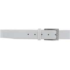 Monti Leather Dress Belt - White