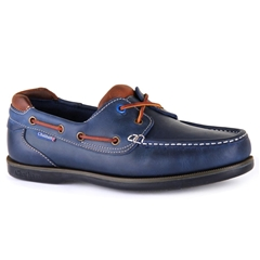 Chatham Marine Pitt Lace Up Boat Shoe- Navy/Tan