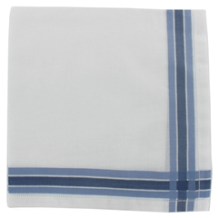 Mens Handkerchief -  Mens Hemstitched Handkerchief with Blue Border