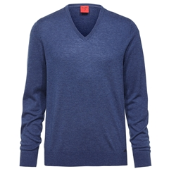 Olymp - Level Five Merino Wool V-Neck Sweater - Royal