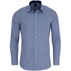 Olymp Level Five Body Fit Shirt with Woven Spot Pattern - Marine