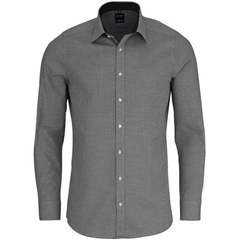 Olymp Level Five Body Fit Shirt with Woven Spot Pattern - Black