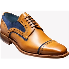 Barker Shoes Style: Haig - Cedar Calf/Blue Suede