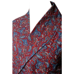 Men's Lightweight Dressing Gown - Red India Paisley Design