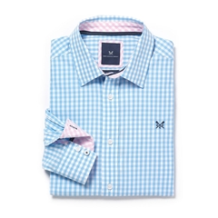 New Summer 2017 Crew Classic Fit Gingham Shirt - Sky - Size XL Only