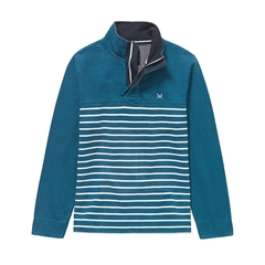 Crew Clothing Padstow Pique Sweater - Ink Blue Stripe - Size M & XXL Only