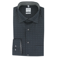 Olymp Comfort Fit Shirt - Charcoal Diamond - Size L Only