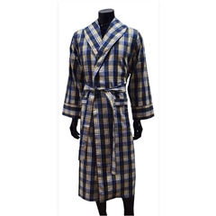 Lighweight Men's Dressing Gown - Yellow/Blue