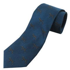 The Silk Tie Company - Teal Woven with Labrador Design - 100% Silk