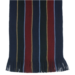 Men's Knitted Scarf - Navy Double Stripe Face Design Men's Scarf