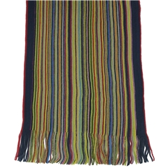 Men's Knitted Scarf - Bright Multi Stripe Design Men's Scarf