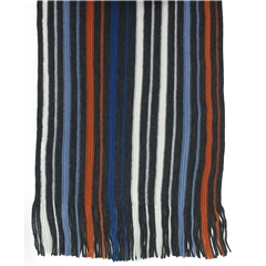 Men's Knitted Scarf - Grey/Orange Stripe Design Men's Scarf