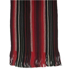 Men's Knitted Scarf - Red Stripe Design Men's Scarf
