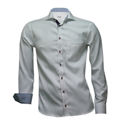 Oscar Shirt - White With Stripe Contrast