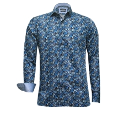 New Autumn 2016 Giordano Shirt - Blue circles with trim details