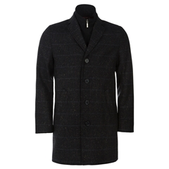 Magee Orion Overcoat Black Blue Tweed - 42 - 44 - 46 chest only