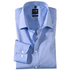 Olymp Level Five Body Fit Shirt - Chambray - Blue - 2080 64 19