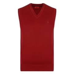 Gabicci Classic Knitted Plain Slipover - Red