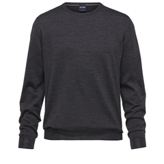 Olymp - Modern Fit - Wool Round Neck Sweater - Graphite - 0150 11 69