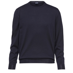 Olymp - Modern Fit - Wool Round Neck Sweater - Navy - 0150 11 18