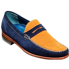 Barker Shoes Style: William - Blue / Caramel Suede