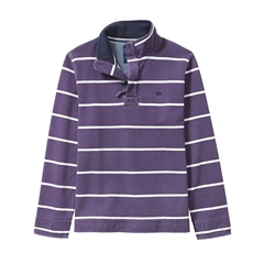 New 2017 Mens Crew Clothing Padstow Pique Sweat - Plum/White Stripe