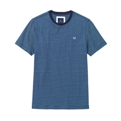 New 2017 Mens Crew Clothing Fine Stripe Tee - Navy/Sky Blue Stripe
