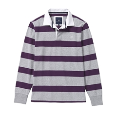 New 2017 Crew Clothing Rugby Jersey - Plum/Grey Stripe