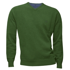 New 2017 Fynch-Hatton Superfine Cotton V Neck Sweater - Oasis Green - Size XXL Only