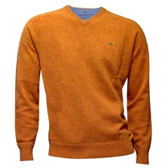New 2017 Fynch-Hatton Superfine Cotton V Neck Sweater - Salsa