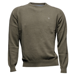 New 2017 Fynch-Hatton Superfine Cotton Crew Neck Sweater - Taupe