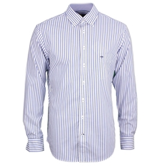 New 2017 Fynch-Hatton Cotton Stripe Shirt - Blue - Size M Only