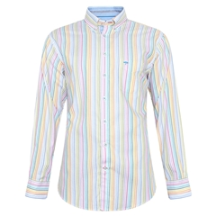 Fynch-Hatton Cotton Stripe Shirt - White Multicolour Stripe - Size XXL Only