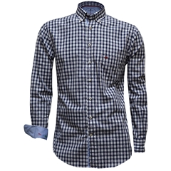 New 2017 Fynch-Hatton Shirt - Navy and White - Red Check