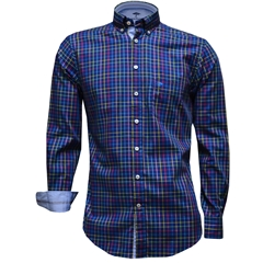 New 2017 Fynch-Hatton Shirt - Navy Multicolour check - Size XXL