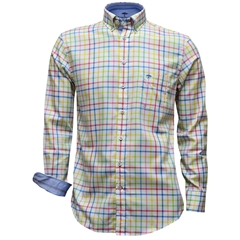 New 2017 Fynch-Hatton Shirt - White Multicolour check - Size Medium Only