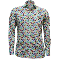 New 2017 Giordano Shirt - White Ground Large Multi Spots