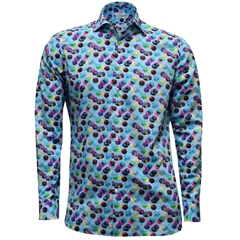 New 2017 Giordano Shirt - Blue Ground Large Multi Spots