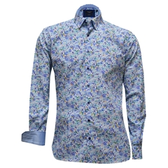 Giordano Shirt - Blue Coloured Foliage - Size XL and 3XL Only