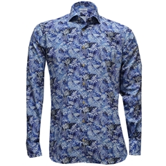 Giordano Shirt - Blue With White Flowers - Size XXL Only