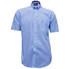 New 2017 Half Sleeved Giordano Shirt - Block Stripe Blue - Size 3XL Only