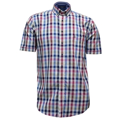 Half Sleeved Giordano Shirt - Check Blue Wine Beige - Size 2XL Only