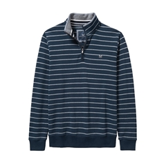 New 2017 Mens Crew Clothing Classic Half Zip Sweat - Navy/Grey Stripe