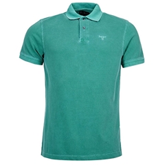 New 2017 Barbour Core Essential Mens Washed Sports Polo Shirt - Turf Green