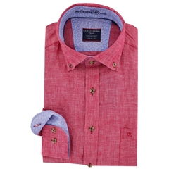Casa Moda Long Sleeve Linen Shirt - Cerise - M & 3XL Only