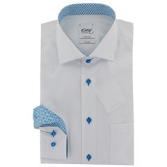 New 2017 Oscar Shirt - White with Blue contrast trim and buttons