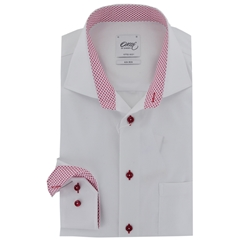 New 2017 Oscar Shirt - White with Red contrast trim and buttons