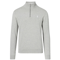 New 2017 Ralph Lauren Pima Cotton Half-Zip Sweater - Grey