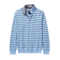 New 2017 Mens Crew Clothing Classic Half Zip Sweat - Sky/Navy Stripe