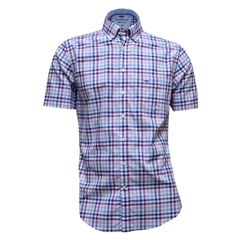 Fynch-Hatton Royal Cotton Short Sleeve Shirt - Lilac-Blue - Size M Only